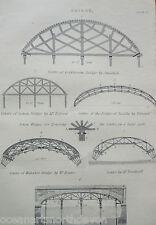 ANTIQUE PRINT C1880'S COLDSTREAM BRIDGE ENGRAVING WATERLOO ARCH LONDON HISTORY