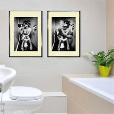 Sexy Party Girl On The Toilet Drinking Smoking Print Poster Wall Art Picture A4+