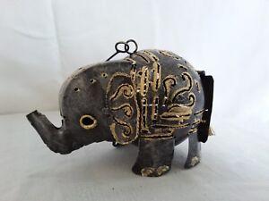 Elephant handmade garden tea light from tin , indoor/outdoor, hanging/standing
