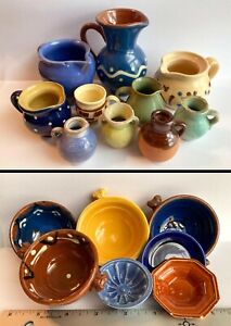 Vintage Miniature Pottery Lot - Handmade - Stoneware Pitchers Bowls Jugs Glazed