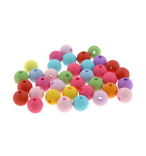 Round Acrylic Beads 10mm - Assorted Rainbow Colors - 50 Beads - BD535