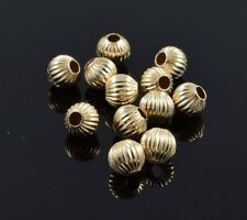 Lot of 12 14k Yellow Gold Slide Bracelet Charm Corrugated Round Bead Spacer 4mm