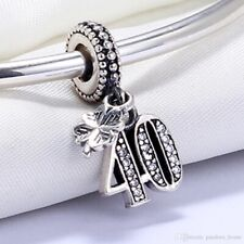 40th HAPPY BIRTHDAY DANGLE CZ PAVE CHARM  LUCKY CLOVER s925 STERLING SILVER