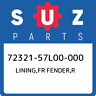 72321-57L00-000 Suzuki Lining,fr fender,r 7232157L00000, New Genuine OEM Part