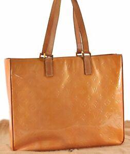 Authentic Louis Vuitton Vernis Columbus Shoulder Tote Bag Yellow LV C7388