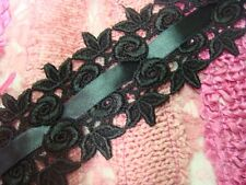 lot 15 y wholesale Venice black satin ribbon insert rose bud Lace trim 2 3/8""