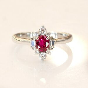 Natural Vivid Red Ruby and Diamond Ring in 18ct Gold