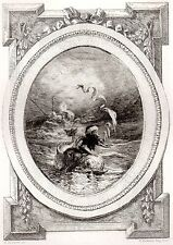 EAU FORTE / Fables de la Fontaine 1883 / LE SINGE ET LE DAUFIN