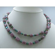 2 Separate .925 Sterling Silver Turquoise Rhodonite Tier Necklace Necklaces