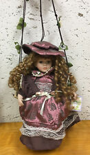 Cathay Collection 'Nelly' Porcelain Doll, On Swing, Hanging, Still has Tags
