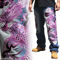2018 New Men/'s Jeans Embroidery Straight Fit Carp Dragon Limited Edition W30-W42