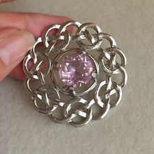 LARGE Vintage SILVER Tone ROSE Quartz STONE Celtic KNOT Round BROOCH Pin