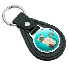 Cute Siamese Cat Black Leather Metal Keychain Key Ring