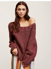 Free People Small Medium Beachy Slouch Off Shoulder Purple Dawn Short Sweater
