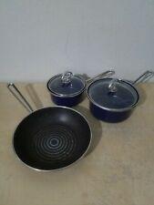 Vtg lot 5 pice set Chantal Cobalt Blue Saucepan Cookware Pot 13 15