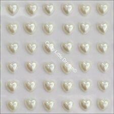 208 x 6mm Ivory Acylic Pearl Heart Self Adhesive Stick on Pearl Gems Wedding