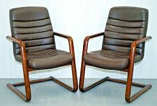 VINTAGE GORDON RUSSELL VERCO BROWN LEATHER OFFICE CHAIR 1 LEFT