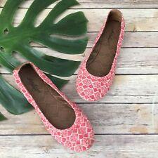 Lucky Brand Canvas Ballet Flats Size 8.5 Pink White Geometric Print Slip On