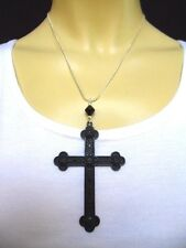 A LOVELY BIG  BLACK CROSS/CRUCIFIX NECKLACE. GOTH. NEW.