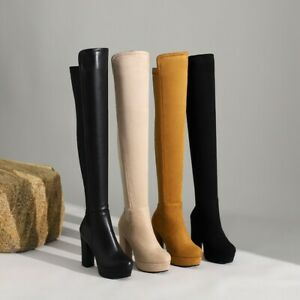 Women's Round Toe Block Mid Heels Winter Hot Leather Over The Knee High Boots