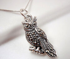 Marcasite Owl Necklace 925 Sterling Silver Corona Sun Jewelry wise night eyes