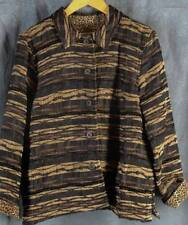 Coldwater Creek Large Petite PL Chocolate Brown Animal Print Jacket