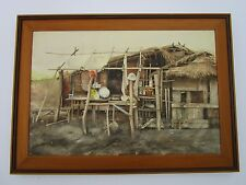 LARGE  PAINTING SOUTH AMERICAN HUT? VILLAGE MEXICO? MYSTERY ART VINTAGE SIGNED