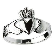 Sterling Silver Heavy Men's Claddagh Ring 14.3mm