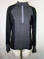 Velocity Woman's Athletic Shirt Top Black Gray Thumb Holes 1/2 Zip Size XL