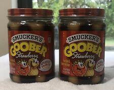 (2) Smucker's Goober Peanut Butter & Strawberry Jelly Stripes-18oz Each B