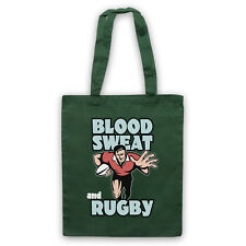 BLOOD SWEAT AND RUGBY SLOGAN SPORTS LOVER COOL SHOULDER TOTE SHOP BAG