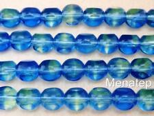25 8 mm German Style Triangle Beads: Blue/Light Green