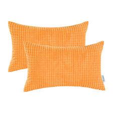 2Pcs CaliTime Cushion Covers Pillows Shell Corduroy Corn Striped 30x50cm Orange