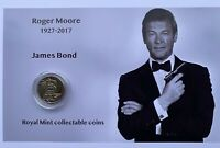 New Roger Moore as James Bond royal mint A-Z 10p coin display.