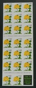 US 32¢ Yellow Rose $6.40 Booklet of 20 Stamps #3049a VF MNH Pl. S2222