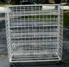 Gridwall Rolling Casters Shelving Gondola Display w/ 8 wire shelves Used Pickup