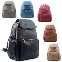 Ladies Faux Leather Double Zip Rucksack Girls School Travel Backpack Handbag