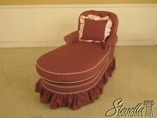29395:  Custom Red Plaid Upholstered Chaise Lounge