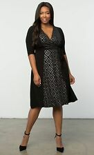 LANE BRYANT PLUS SIZE IN THE MIX WRAP DRESS BY KIYONNA 22/24 BLACK