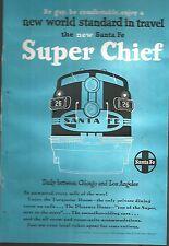 Antique USA paper flying Santa fe super chief travel advertising 1950 (EM)