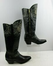Ladies Black Leather With Silver Detail Western Cowgirl Boots Size : 7 ?