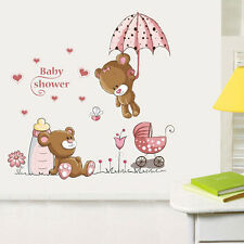 Cartoon Cat Rabbit Flower Wall Sticker Girls Home Decor Teddy Bear Umbrella DIY