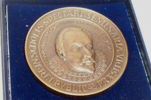 Old Medal Adolfinum Moers Mayer Pforzheim Badge Case Medal Bronze Bronce