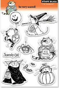 Halloween Be Very Scared Clear Unmounted Rubber Stamp Set PENNY BLACK 30-054 New
