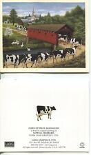 VINTAGE JERSEY DAIRY COWS GEESE STREAM COVERED BRIDE CHURCH SPRING FLOWERS CARD