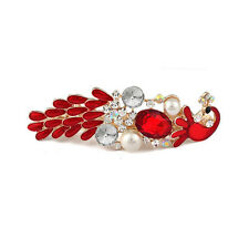 Women Red Rhinestone Peacock Hair Pin Barrettes Hairpin Clips Fashion Accessory