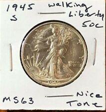 1945-S 50C Walking Liberty Silver Half Dollar - Beautifully Toned Mint MS coin!