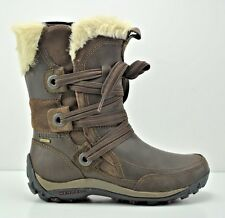 Womens Merrell Nikita Winter Waterproof Brown Leather Boots Size 6.5 J55888
