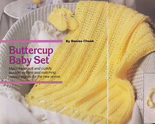 Crochet Pattern ~ BUTTERCUP BABY SET Mitten, Bootie, Afghan ~ Instructions