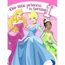 Disney Princess Classic Cartoon Kids First 1st Birthday Invitations w/Envelopes